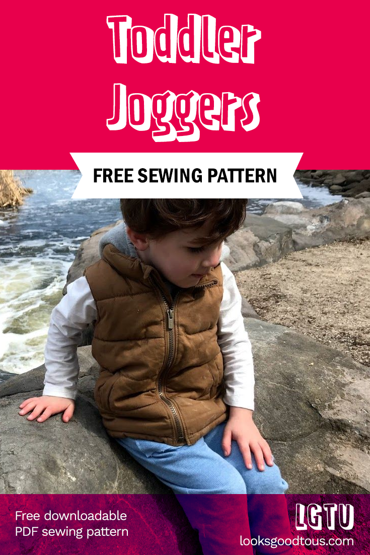 Free Toddler Joggers Sewing Pattern Refashioned from Men's T-Shirt Tutorial