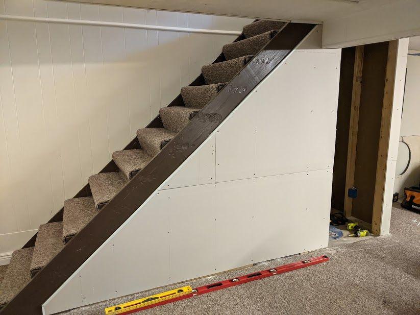 Stair Storage Series, Part 5: Installing Drywall